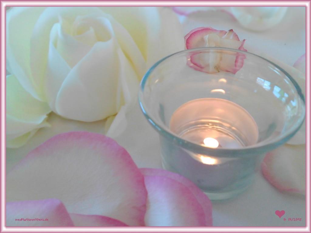 Kerzenlicht Rosenblütenblätter